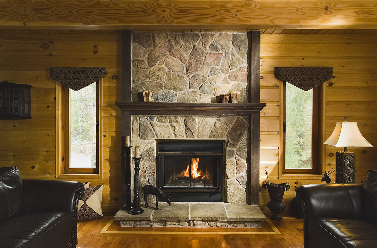 Cultured Stone Veneer Fireplace