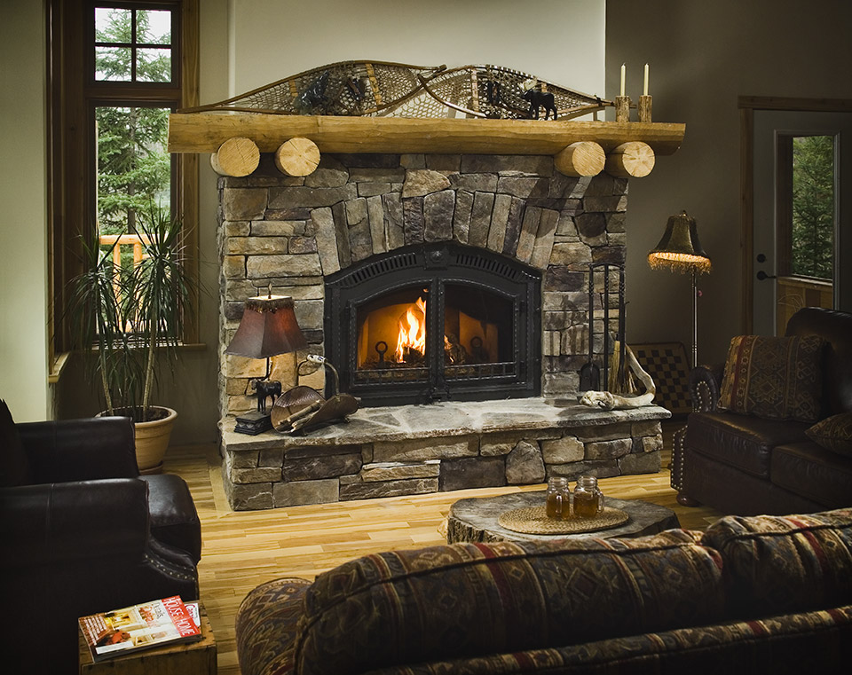 Stone and wood fireplace