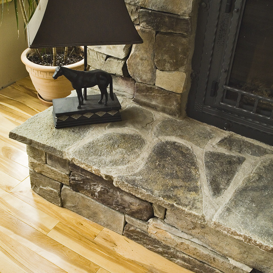 Close shot stone fireplace