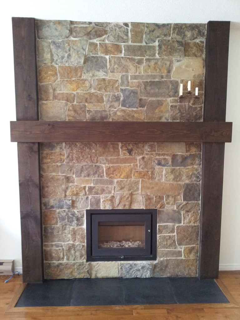Stone veneer fireplace in gatineau