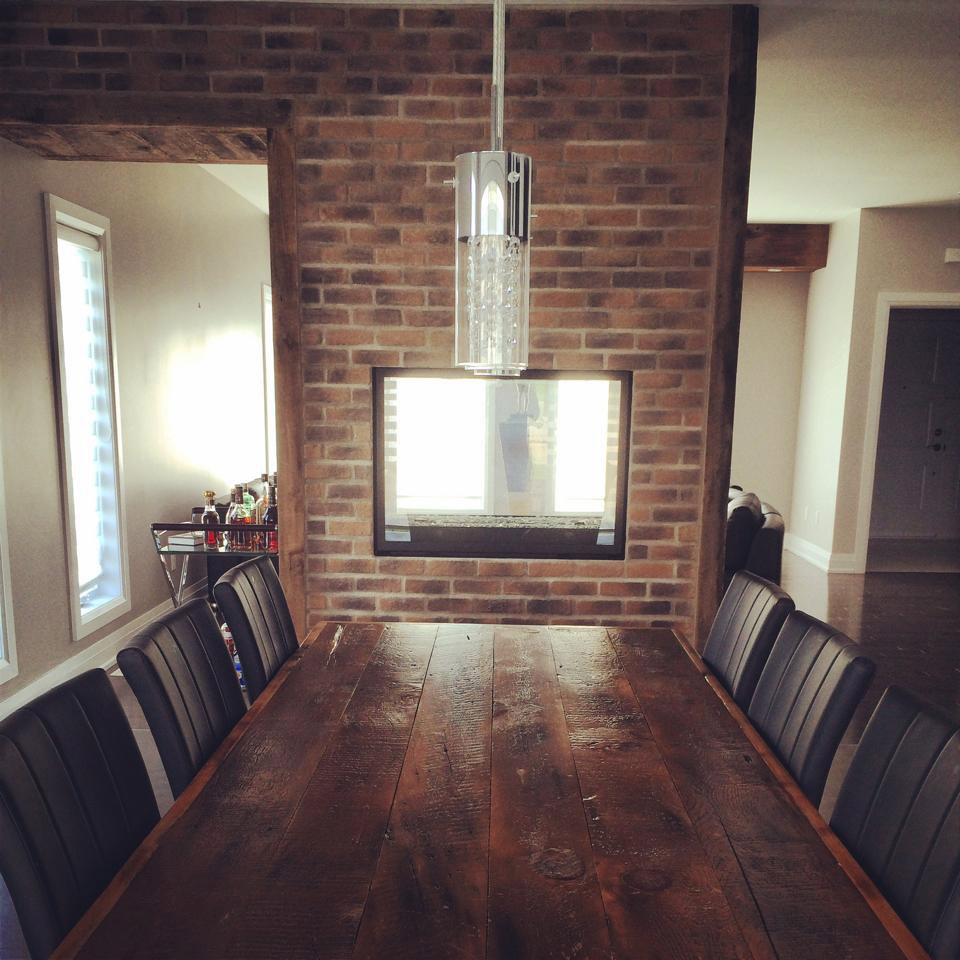 Stone veneer wall in dining room