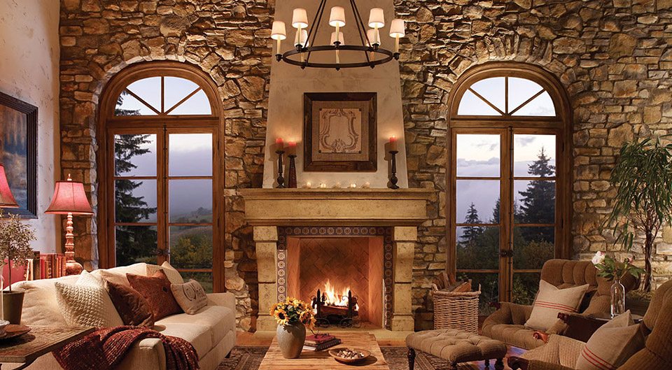 Stone veneer wall aroud fireplace